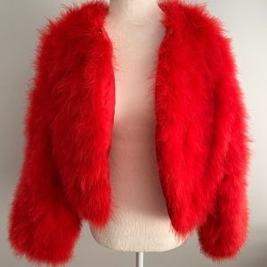 Jackets & Blazers - Alexander McQueen Vibe Ostrich Feathered Red Coat